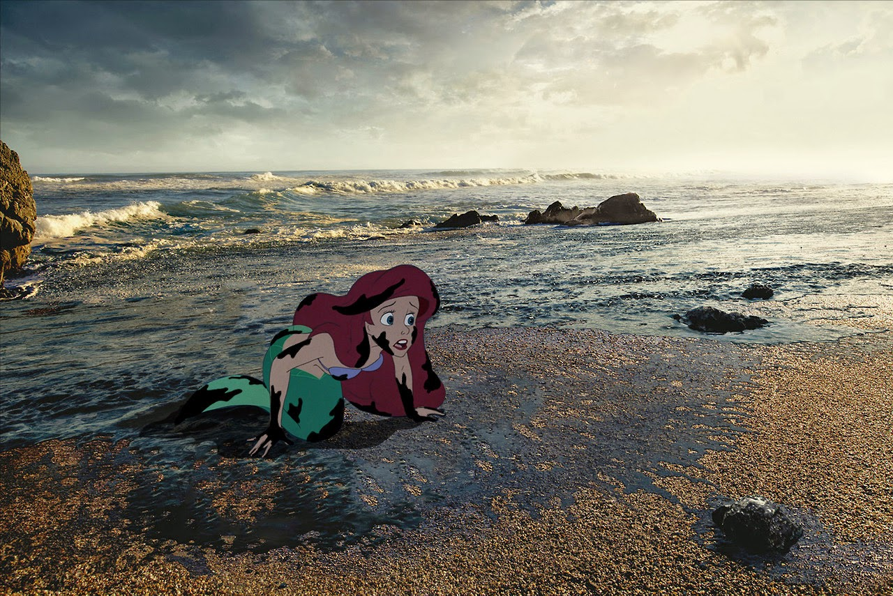 Little Mermaid on the oil polluted shores of Australia