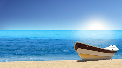 Nature beach wallpapers with litle boat
