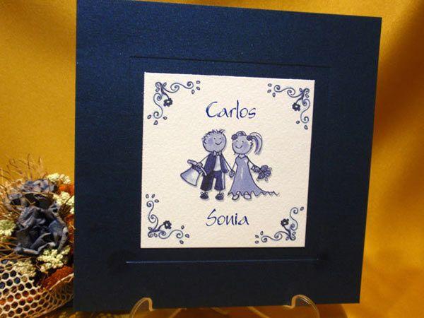 Invitación Azul con novios para boda
