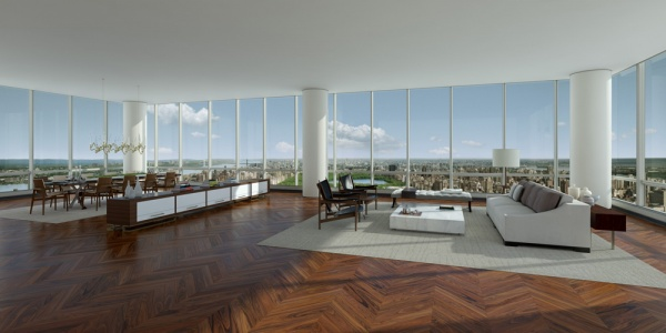Rendering of interior inside of One 57 by Christian de Portzamparc