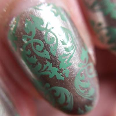 nail macro shot Julep Savoy stamped damask pattern Revlon Lime Basil