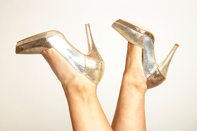 Sara Melissa Designs, handmade shoes, metallic high heels