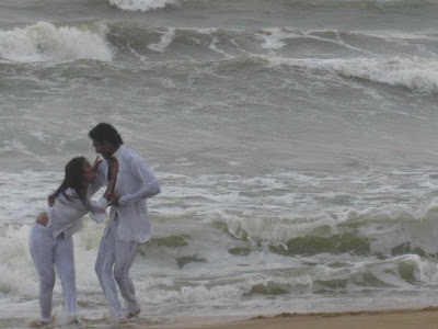 Sri Lankan MP Upeksha Swarnamali  with Akalanka Ganegama Beach Photo