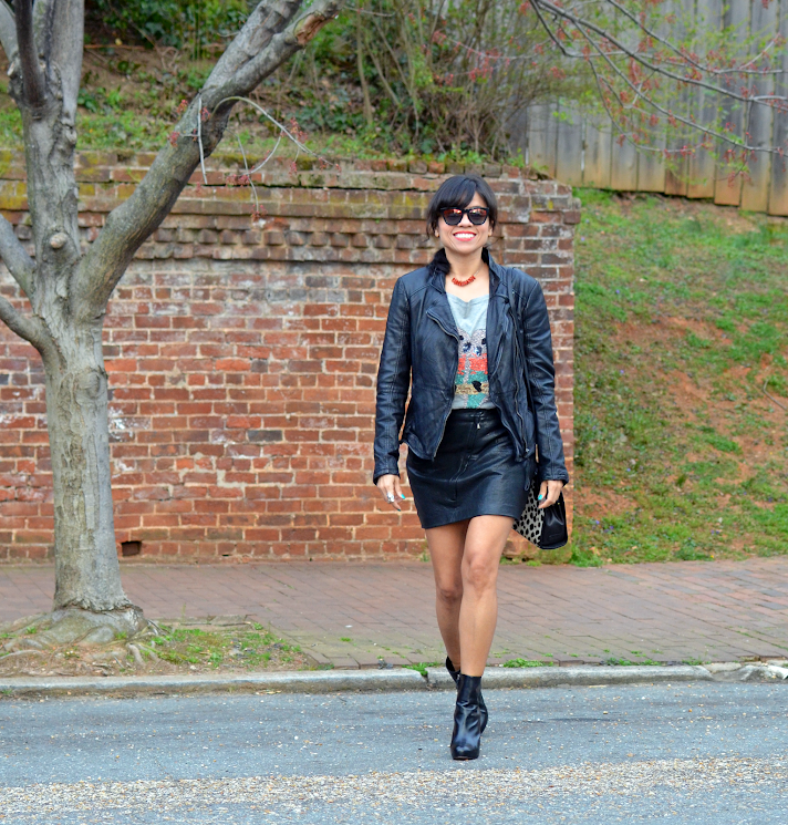 LEATHER JACKET AND LEATHER SKIRT LOOK