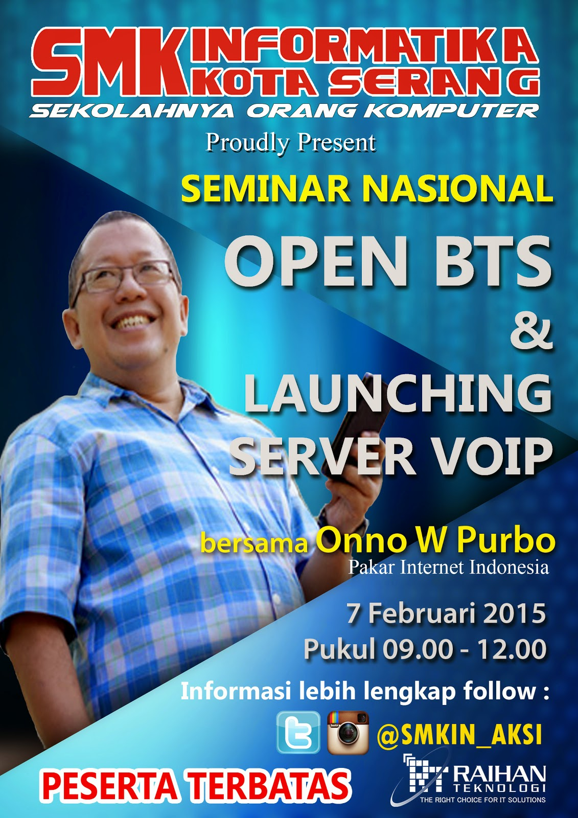 Poster Seminar Nasional Open BTS Onno W. Purbo SMK Informatika Kota Serang