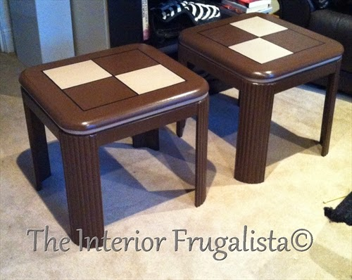 90's style living room side tables painted with Chocolate Tart and Harmony chalk paint.