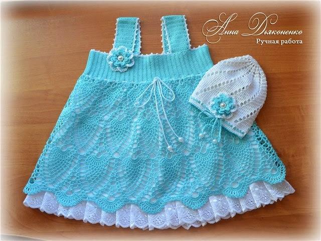 Vestido para bautismo al crochet