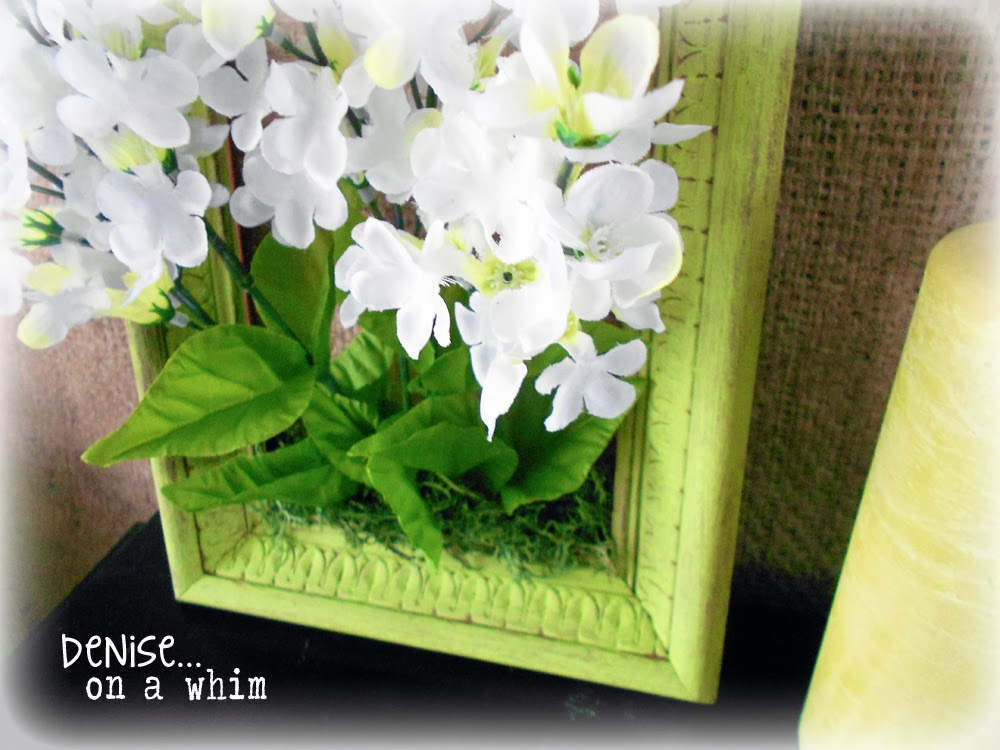 Framed flowers and Moss via http://deniseonawhim.blogspot.com