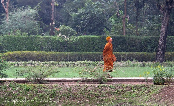 Japanese monk at Mahaparinirvana temple Khushinagar Uttar Pradesh India