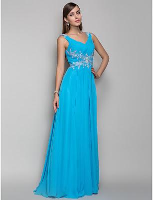 Vestido de fiesta azul largo hasta el suelo