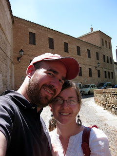Audrey and I on a street in Toledo.