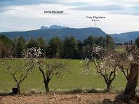 A llevant la vista arriba al Puig d'Aguilera i als cims de Montserrat