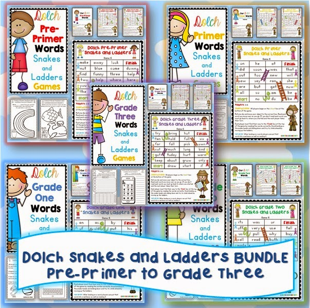 Dolch Words Snakes and Ladders Games BUNDLE: Pre-Primer, Primer, Grade One, Grade Two & Grade Three: all five sets  6 games to help revise all Dolch words plus an editable file