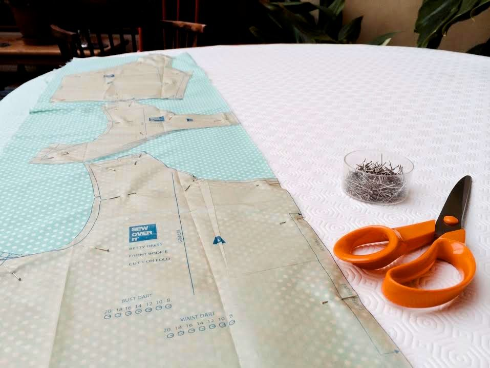 cutting out the betty dress pattern