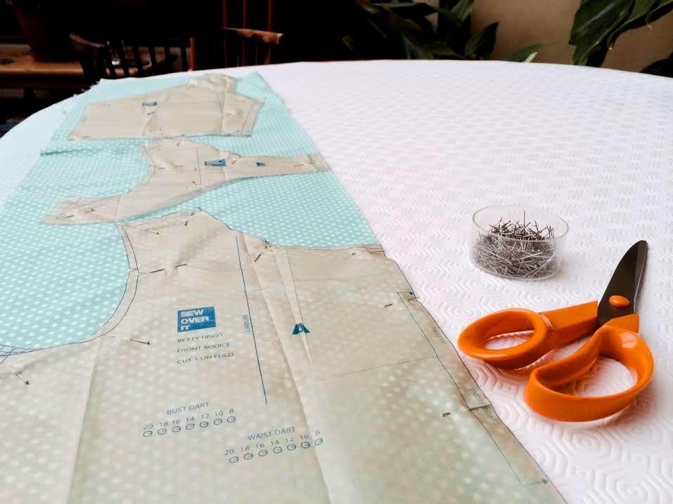 cutting out the betty dress pattern
