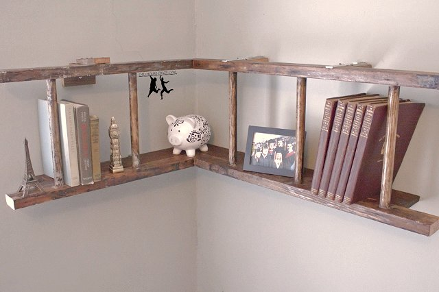 Dishfunctional designs old ladders repurposed as home decor for Diy ladder bookcase