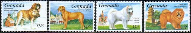 1993年グレナダ セント・バーナード ローデシアン・リッジバック サモエド チャウ・チャウの切手
