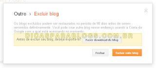 pagina para excluir blog