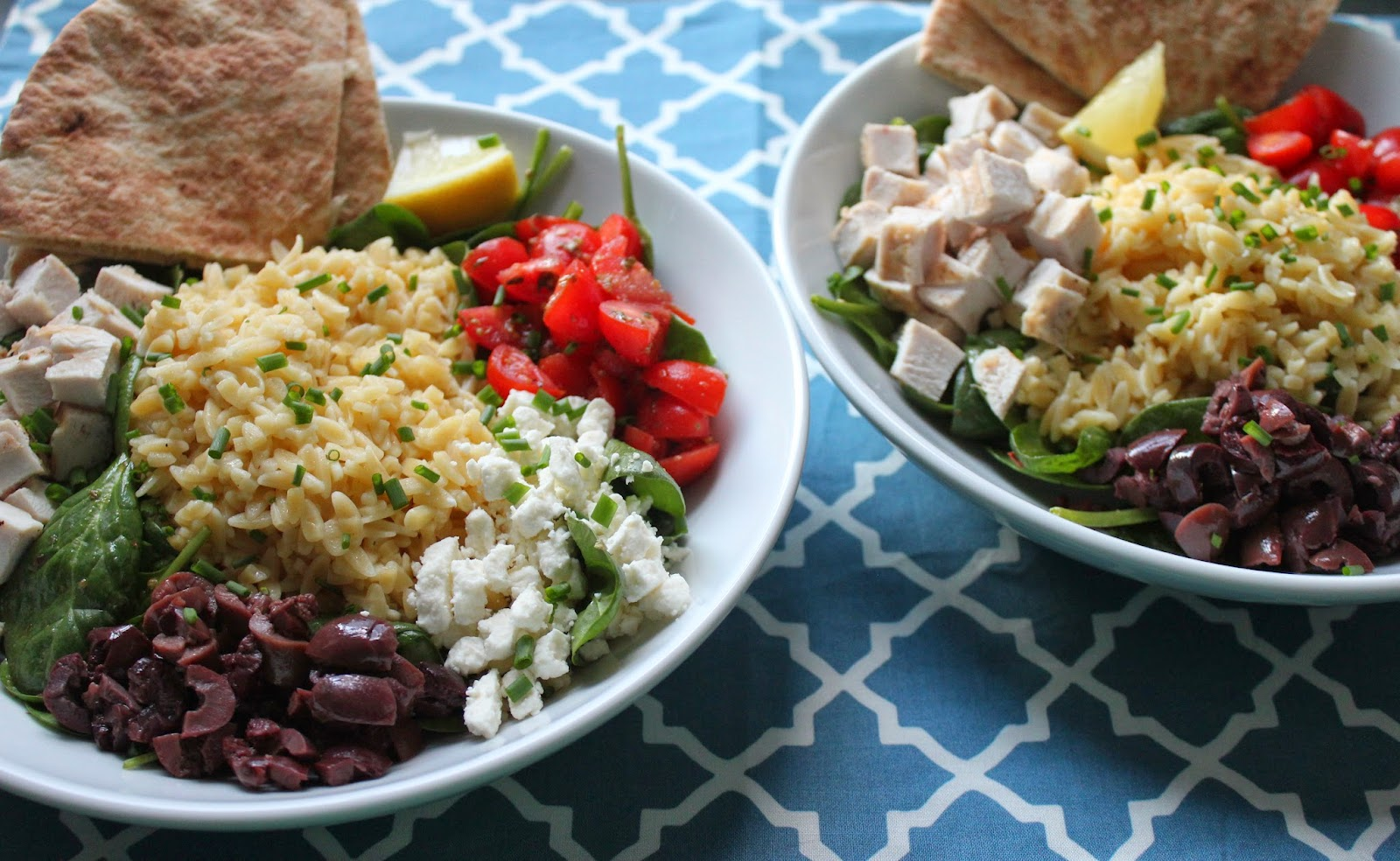 Greek chicken and orzo bowls
