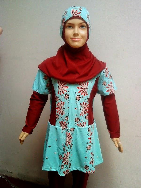 Baju renang muslim anak perempuan cantik motif bunga warna merah marun kombinasi biru