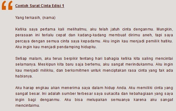 Created For Just One Purpose Contoh Surat Cinta