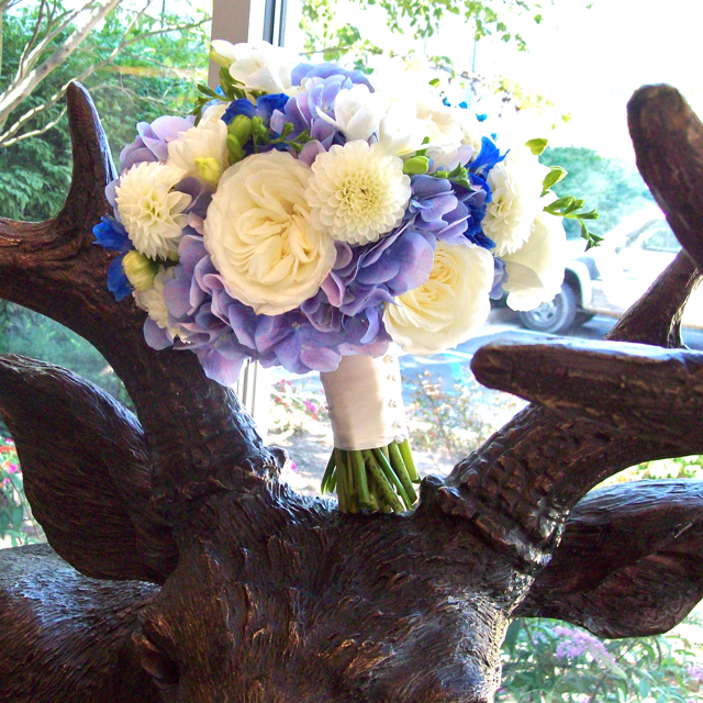 Did you know there is a full sized bronze elk in the lobby at Webbers Inn? Me either.  But it was love at first site :) Congratulations Sarah and Steve, married last Saturday at Mattaei Botanical Gardens.  The brides bouquet featured some unbelievable blue hydrangea, white garden roses, white ball dahlia, white freesia (smelled so peppery and delicious) and blue delphinium (hybrid to be awesome). sweet pea floral design ann arbor wedding detroit michigan wedding florist