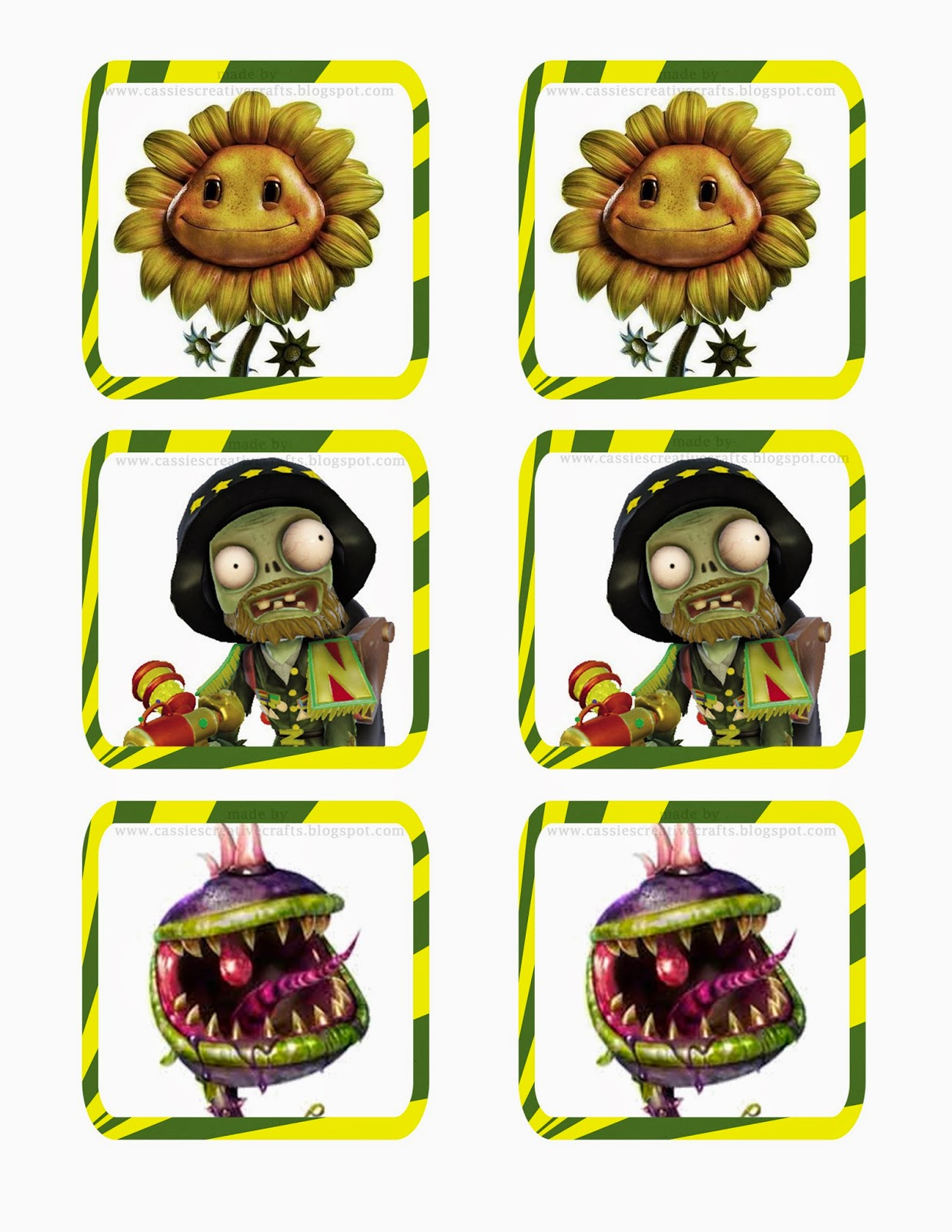 Plants vs Zombies DIY memory game tutorial. copyright Cassie's Creative Crafts