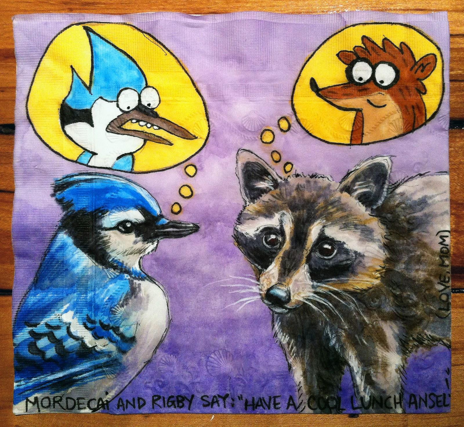 Blue jay and raccoon