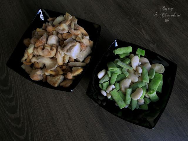 Descongelando las setas y las verduras