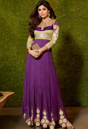 Purple Faux Georgette Abaya Style Churidar Dress