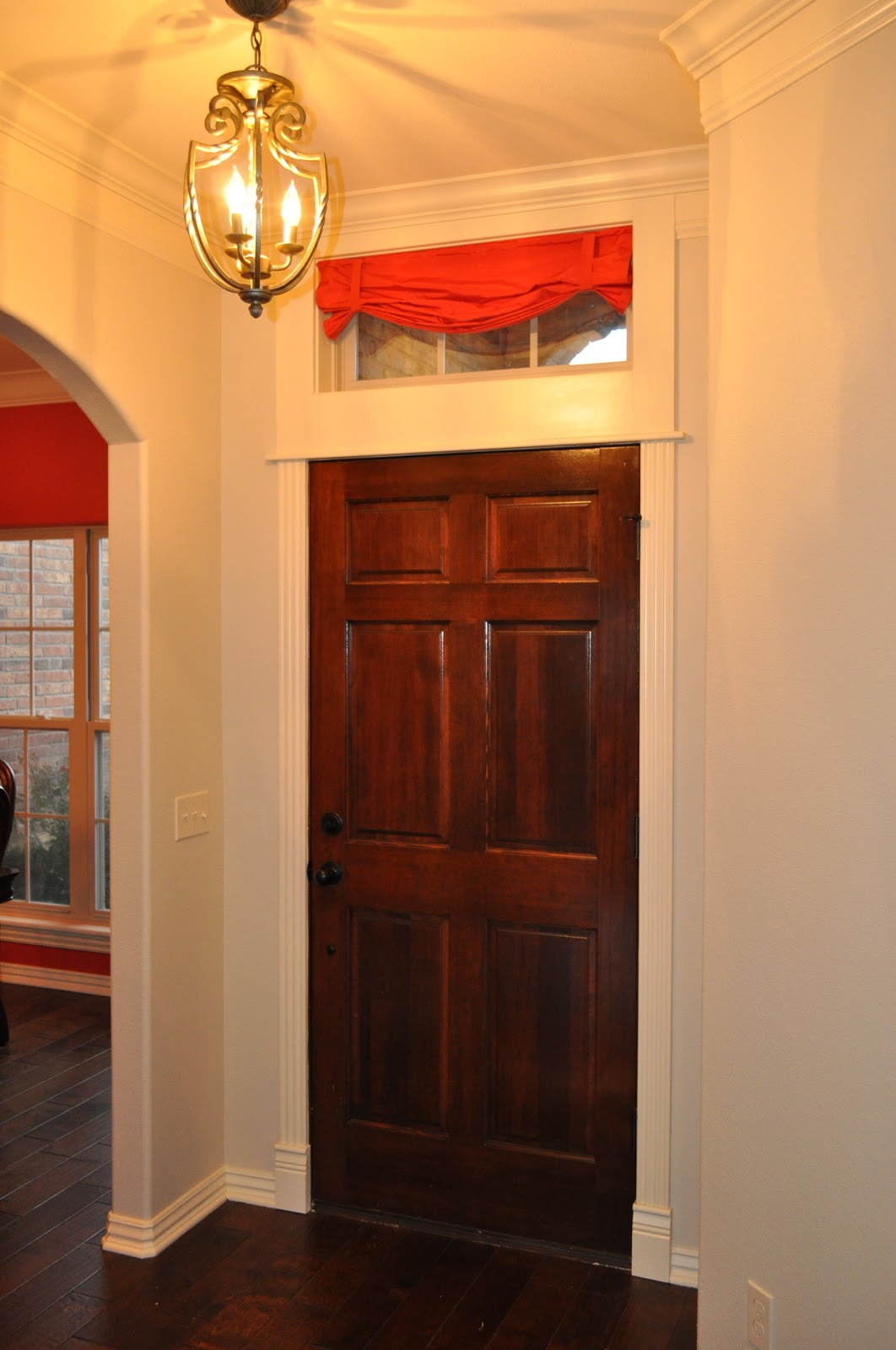 So, I made a no sew valance for the window over my front door. Wanna ...