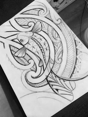 koifish sketch with maori koru shapes
