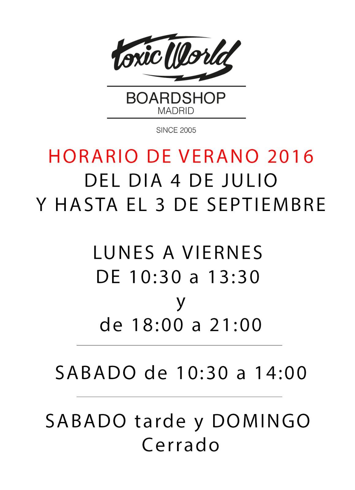 Horario Summer 2016