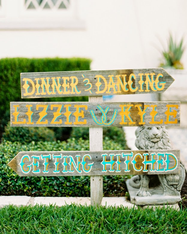Colorful Wedding Directional Sign - Beautiful Examples of Hand Lettering in Wedding Signage on HelloBrio.com