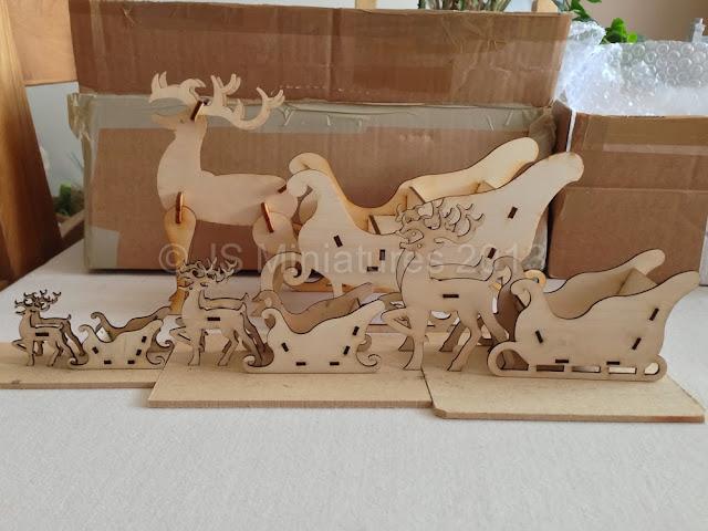 Sleigh & Reindeer laser cut kits