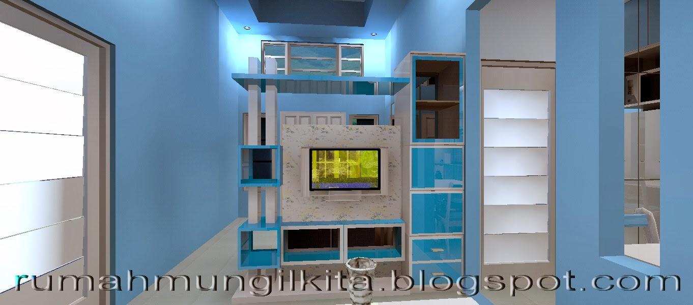 partisi dua sisi minimalis dengan rak tv biru putih