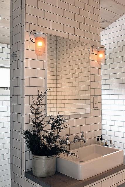 Let 39 s stay square white ceramic tile and dark grout ideas for White ceramic bathroom bin