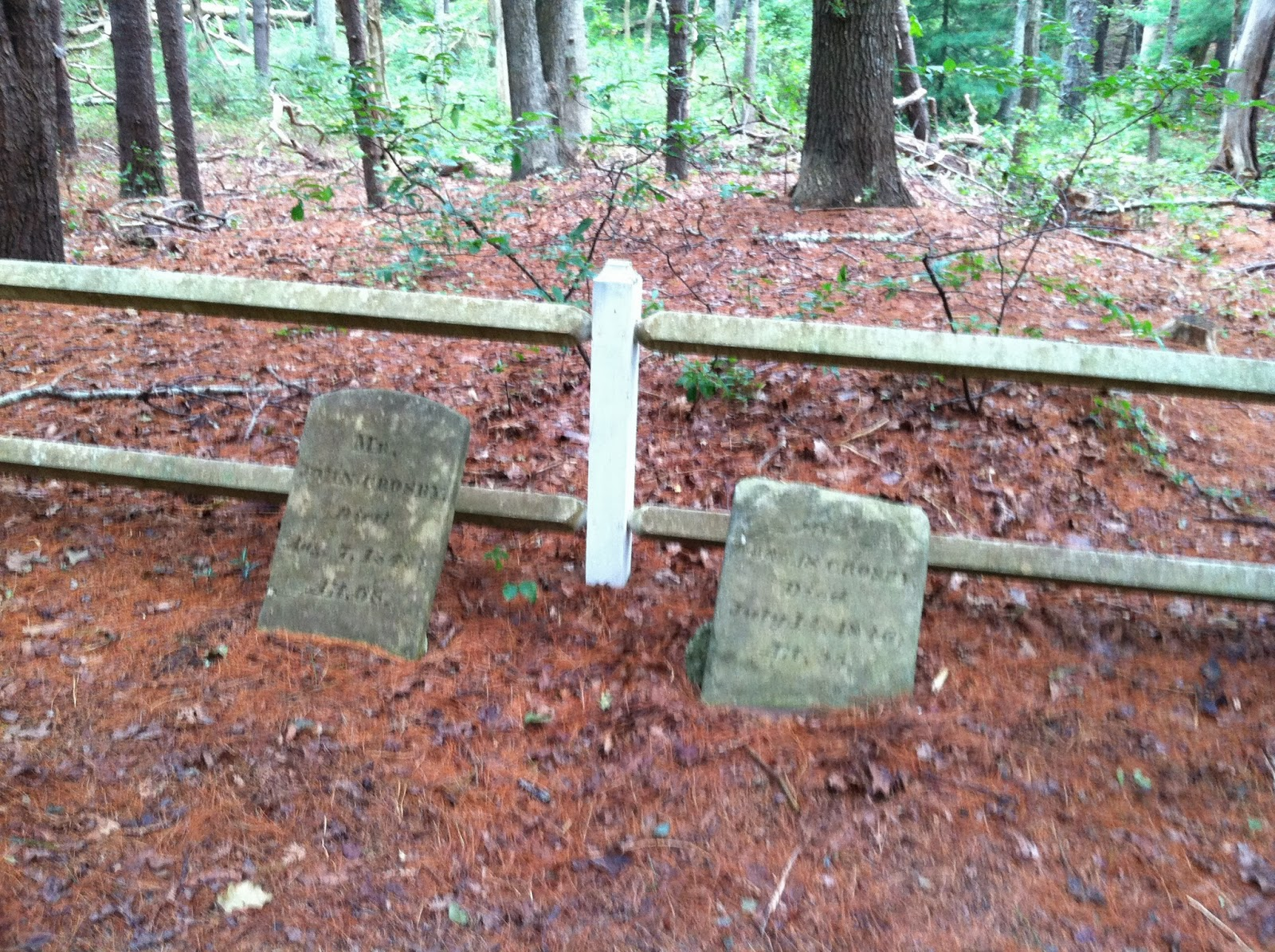The left stone marks John Crosby - Died August 7, 1843 at the age of