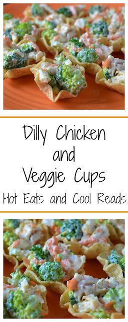 Perfect snack or appetizer for any party or event! Easy, tasty and bite sized! Dilly Chicken and Veggie Cups Recipe from Hot Eats and Cool Reads