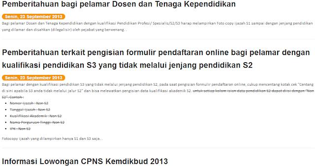 Pengumuman Hasil TKD CPNS Kemendikbud 16 Desember 2013