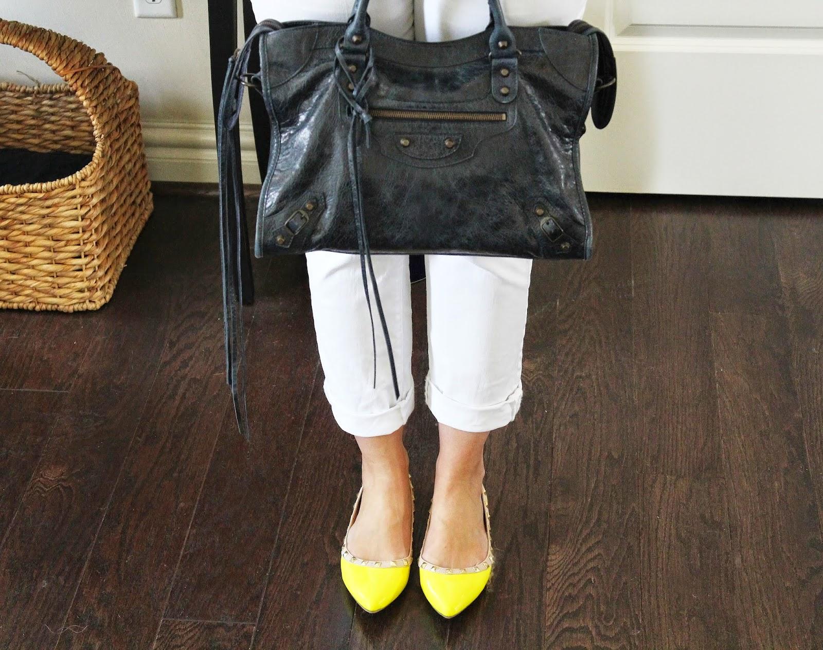 Balenciaga Handbag, Navy, Valentino Rockstud Flats, Yellow, Loft White Jeans