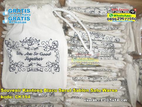 Souvenir Kantong Blacu Serut Sablon Satu Warna grosir