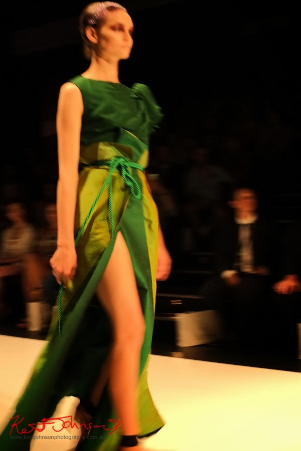 Hong Nhung Luong; green dress rope belt - New Byzantium : Raffles Graduate Fashion Parade 2013 - Photography by Kent Johnson.
