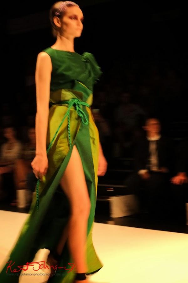 Hong Nhung Luong; green dress rope belt - New Byzantium : Raffles Graduate Fashion Parade 2013 - Photography by Kent Johnson.