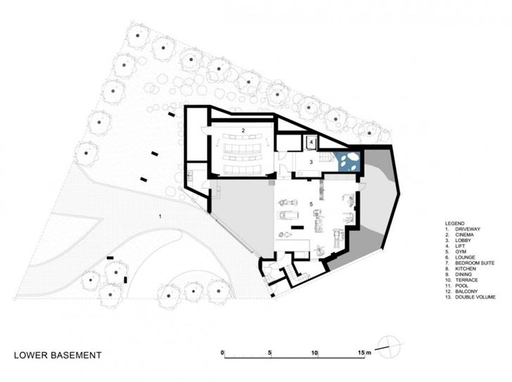 Lower basement floor plan of Head Road 1843 by Antoni Associates