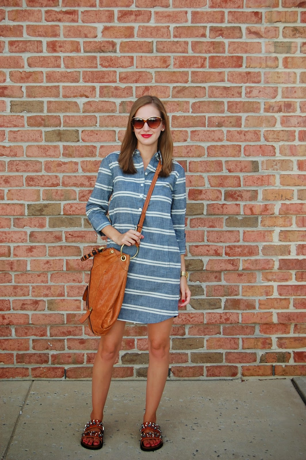 Wearing Loft Striped Shirt dress, Oryany cross body bag, Zara bejeweled sandals, casual weekend outfit