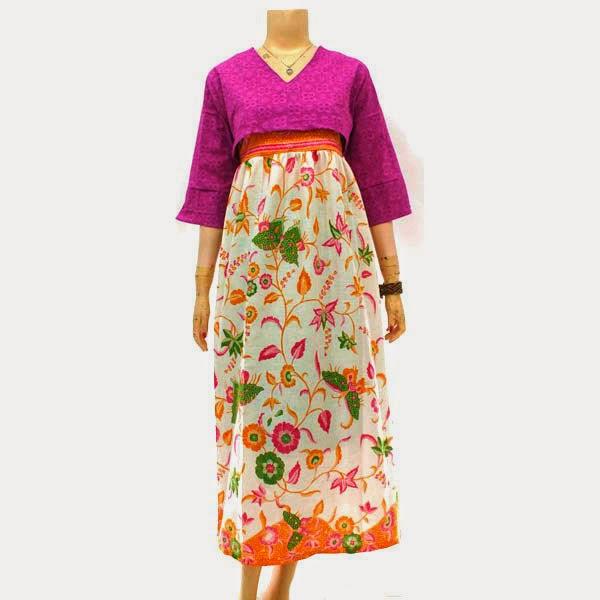 Dress Muslim Kain Katun Embos
