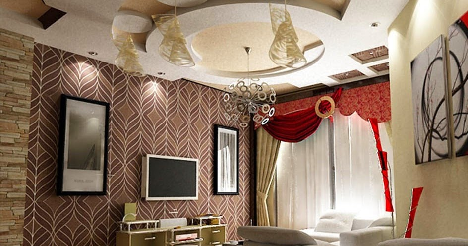 Gypsum Ceiling Design For Living Room With Lighting 2015