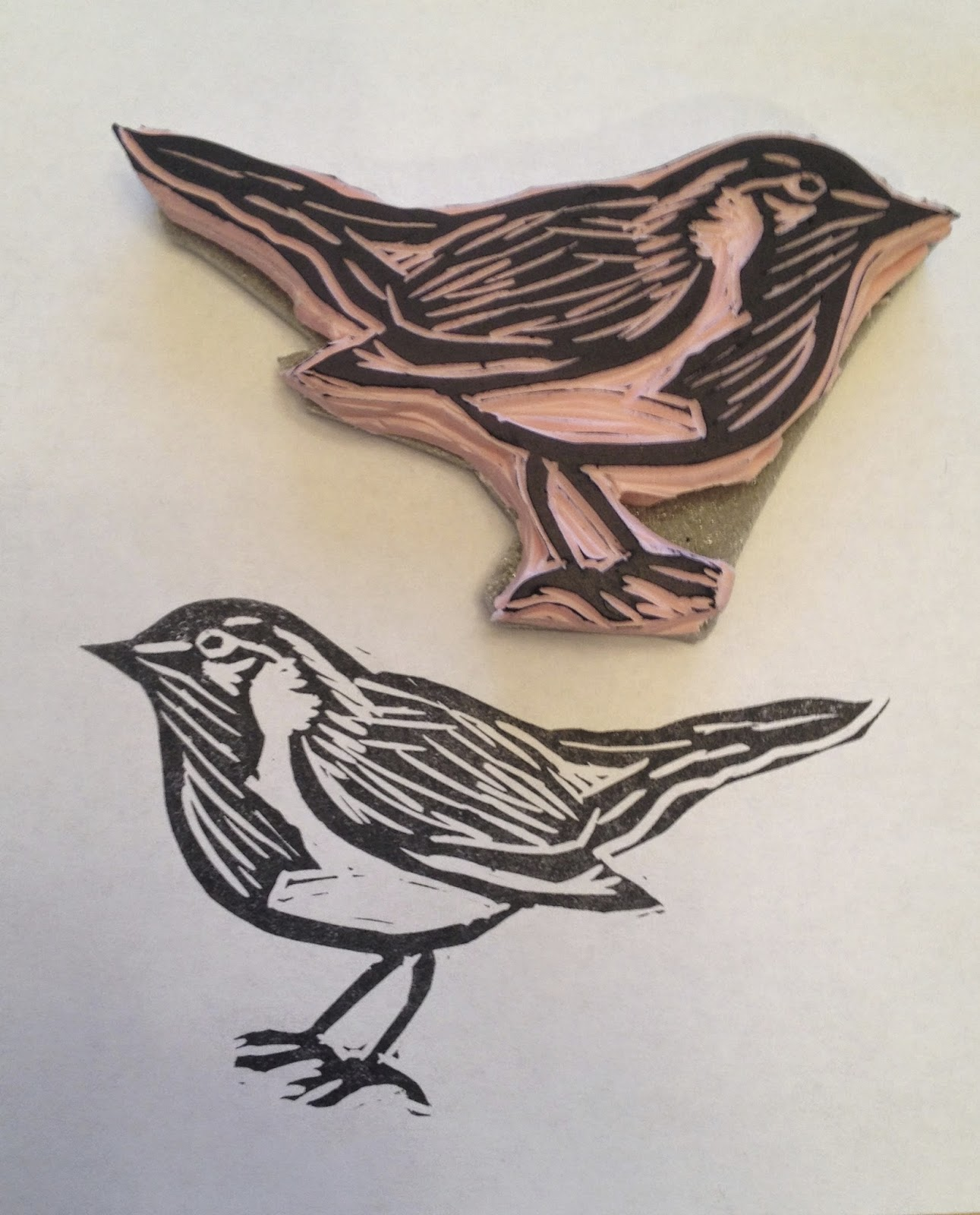 Made by nicole put a bird on it hand carved stamp