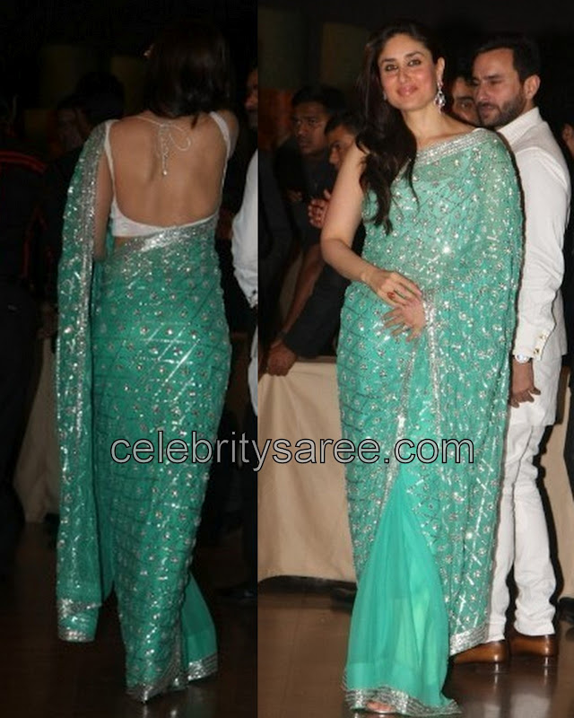 Kareena Kapoor In Georgette Silver Work Saree